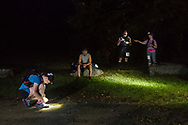 Mamakating, New York  - Runners prepare for the start of the 50-mile division of the Shawangunk Ridge Trail Run/Hike at the boat launch in the Bashakill Wildlife Management Area on Sept. 16, 2017.