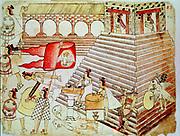 Aztec warriors defending the temple of Tenochtitlan against Conquistadors. Biblioteque Nationale, Paris.