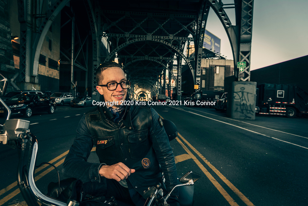 A portrait of Drew Bly with his Honda Shadow in the Manhattanville neighborhood of New York, NY on April 23, 2021. Photo by Kris Connor