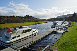 Cabin cruisers moored on the Caledonian Canal at Dochgarroch, Inverness-shire, Scotland.<br /> <br /> (c) Andrew Wilson | Edinburgh Elite media