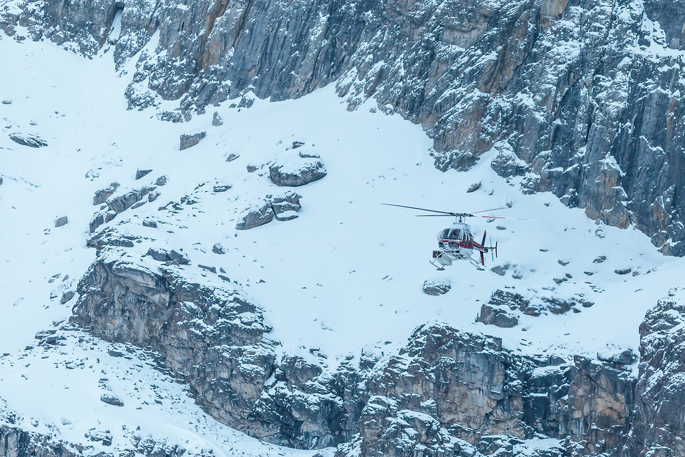 Alpine Helicopter Flying in Protection Valley, Banff National Park, Alberta, Canada