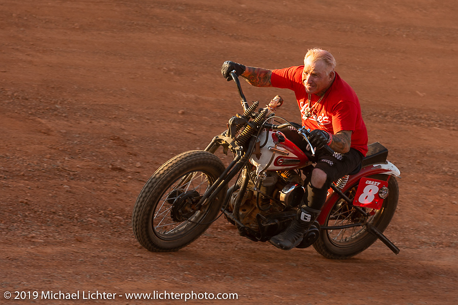 Sons of Speed racer Freddie Bollwage on the Sons of Speed banked oval track at the Full Throttle Saloon during the Sturgis Black Hills Motorcycle Rally. Sturgis, SD, USA. Tuesday, August 6, 2019. Photography ©2019 Michael Lichter.