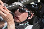 Sebastiaan Bowier na afloop van een testrun. HPT Delft, een team van studenten van de TU Delft en de VU Amsterdam, trainen op de baan van de RDW voor de recordpoging ligfietsen.<br /> <br /> Sebastiaan Bowier at the end of his first heat. The HPT (Human Powered Team) is training at the test track in Lelystad for their attempt to break the world record Human Powered Vehicles.