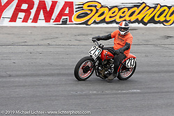 Steve Coe sets the pace for the racers in the Sons of Speed Vintage Motorcycle Races at New Smyrina Speedway. New Smyrna Beach, USA. Saturday, March 9, 2019. Photography ©2019 Michael Lichter.