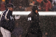 .Snow delayed the home opener of the Cleveland Indians/Seattle Mariners contest at Jacobs Field, April 6, 2007