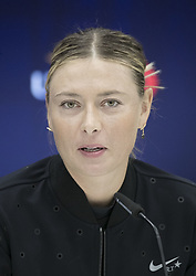 August 30, 2017 - Flushing Meadows, New York, U.S - Maria Sharapova during a press conference after winning her match on Day Three of the 2017 US Open with Timea Babos at the USTA Billie Jean King National Tennis Center on Wednesday August 30, 2017 in the Flushing neighborhood of the Queens borough of New York City. Sharapova defeated Babos, 6-7(7-4), 6-4, 6-1. (Credit Image: © Prensa Internacional via ZUMA Wire)