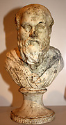 Bust of Socrates, classical Greek philosopher. Made from plaster. Circa 469-399 BC.