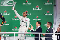 November 17, 2019, Sao Paulo, Sao Paulo, Brazil: LEWIS HAMILTON, of Mercedes AMG Petronas 3th place of the Formula One Grand Prix of Brazil 2019 at Interlagos circuit, in Sao Paulo, Brazil, on Sunday, November 17. (Credit Image: © Paulo Lopes/ZUMA Wire)