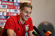 David Edwards of Wales speaks to the press during the Wales football team players media session at the Vale Resort Hotel, Hensol , South Wales on Tuesday 3rd October 2017, the team are preparing for their FIFA World Cup qualifier away to Georgia this week. pic by Andrew Orchard, Andrew Orchard sports photography