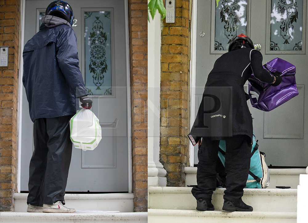 © Licensed to London News Pictures. 16/06/2019. London, UK.  LEFT: An Uber Eats food delivery arrives at the home Conservative Party leadership candidate Boris Johnson and his partner Carrie Symonds in south London on June 16, 2019. RIGHT: A Deliveroo food delivery arrives at the home Conservative Party leadership candidate Boris Johnson and his partner Carrie Symonds in south London on June 15, 2019. Photo credit: Peter Macdiarmid/Ben Cawthra/LNP