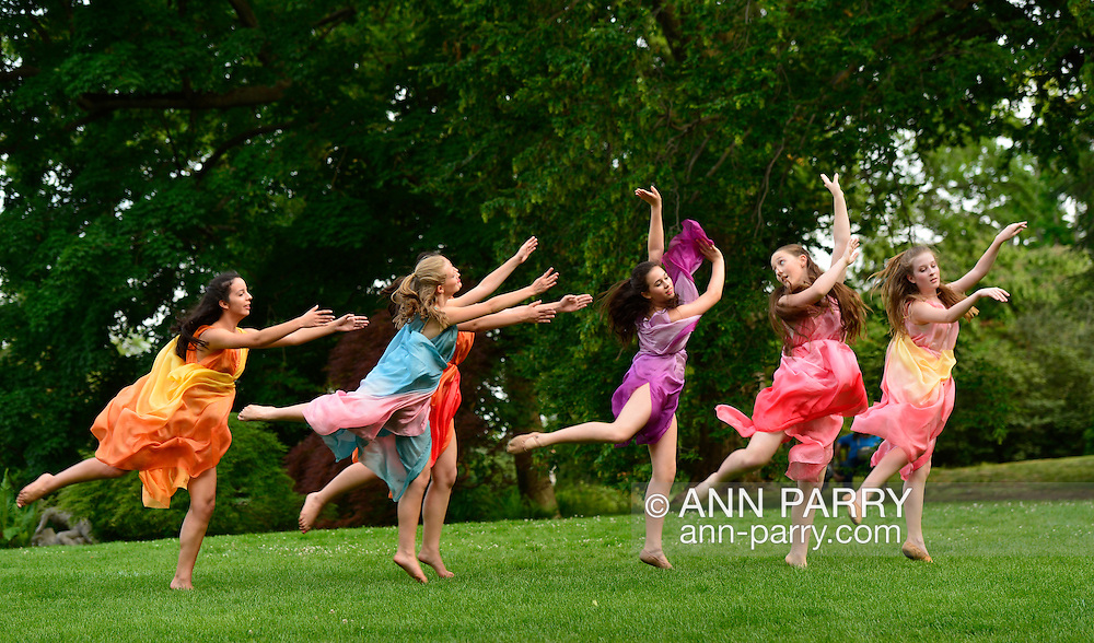 Old Westbury, New York, U.S. 22nd June 2013. At the Midsummer Night event at Old Westbury Gardens, dancers in Lori Belilove & The Isadora Duncan Dance Company, and The Beliloveables, perform the first dance of the night, on the grounds of the historic Long Island Gold Coast estate.