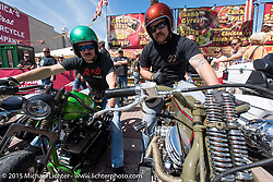 Brothers Jordan and Gabriel Wingard of Florida on their custom Harley-Davidsons on Main Street during Daytona Beach Bike Week 2015. FL, USA. Sunday, March 8, 2015.  Photography ©2015 Michael Lichter.