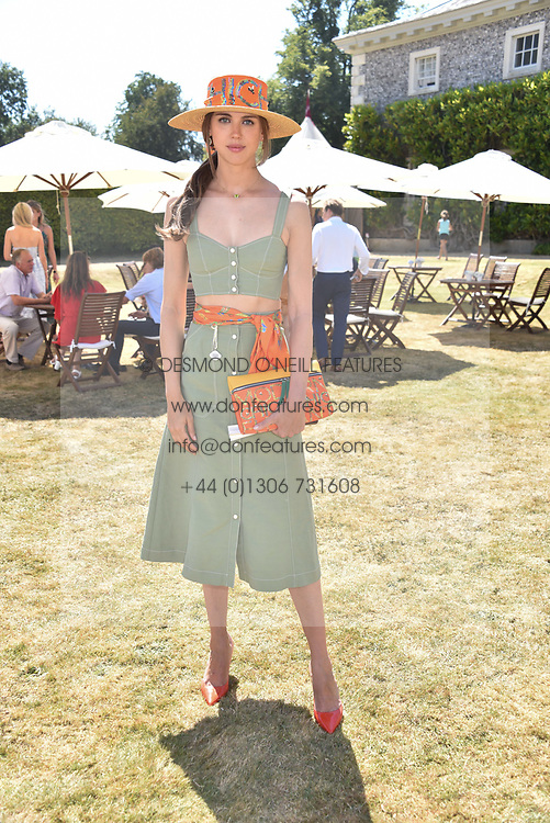 Sabrina Percy at the 'Cartier Style et Luxe' enclosure during the Goodwood Festival of Speed, Goodwood House, West Sussex, England. 15 July 2018.