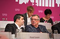 DEU, Deutschland, Germany, Berlin, 27.10.2012:<br />Landesparteitag der Berliner SPD im Berliner Congress Center (BCC) am Alexanderplatz. Hier v.l.n.r.: Raed Saleh, Berliner SPD-Fraktionschef, Ottmar Schreiner (MdB, SPD), Jan Stöß, Vorsitzender des SPD-Landesverbandes Berlin.