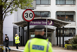 © Licensed to London News Pictures. 22/04/2018. Manchester, UK. Police are responding to a suspect package at a premier Inn Hotel near to Victoria Station in Manchester City Centre . The bomb squad are in attendance and the hotel has been evacuated . Photo credit: Joel Goodman/LNP