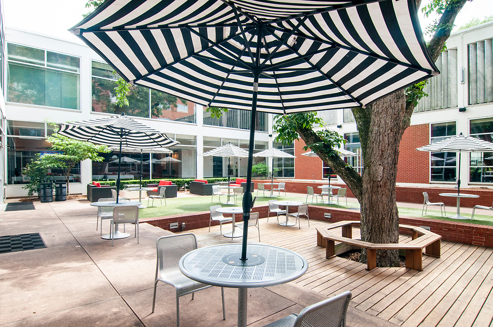 Outdoor seating at the University of Georgia Center for Continuing Education & Hotel in Athens, Georgia on Thursday, July 15, 2021. Copyright 2021 Jason Barnette