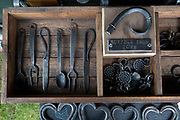 Hand made iron and metal works at the annual Suffolk Show on the 29th May 2019 in Ipswich in the United Kingdom. The Suffolk Show is an annual show that takes place in Trinity Park, Ipswich in the English county of Suffolk. It is organised by the Suffolk Agricultural Association.