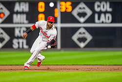 May 22, 2018 - Philadelphia, PA, U.S. - PHILADELPHIA, PA - MAY 22: Philadelphia Phillies first baseman Carlos Santana (41) fields a ground ball during the MLB game between the Atlanta Braves and the Philadelphia Phillies on May 22, 2018 at Citizens Bank Park in Philadelphia PA. (Photo by Gavin Baker/Icon Sportswire) (Credit Image: © Gavin Baker/Icon SMI via ZUMA Press)