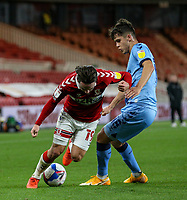 Middlesbrough's Patrick Roberts takes on Coventry City's Ryan Giles<br /> <br /> Photographer Alex Dodd/CameraSport<br /> <br /> The EFL Sky Bet Championship - Middlesbrough v Coventry City - Tuesday 27th October 2020 - Riverside Stadium - Middlesbrough<br /> <br /> World Copyright © 2020 CameraSport. All rights reserved. 43 Linden Ave. Countesthorpe. Leicester. England. LE8 5PG - Tel: +44 (0) 116 277 4147 - admin@camerasport.com - www.camerasport.com