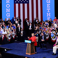 Democratic presidential candidate  Hillary Clinton addresses the crowd in the David L. Lawrence Convention Center in Pittsburgh as part of their bus tour following the Democratic Convention on July 30, 2016.   Photo by Archie Carpenter/UPI