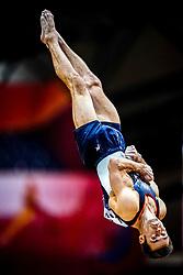 October 29, 2018 - Doha, Qatar - Samuel Mikulak of United States   during  Vault, Team final for Men at the Aspire Dome in Doha, Qatar, Artistic FIG Gymnastics World Championships on October 29, 2018. (Credit Image: © Ulrik Pedersen/NurPhoto via ZUMA Press)
