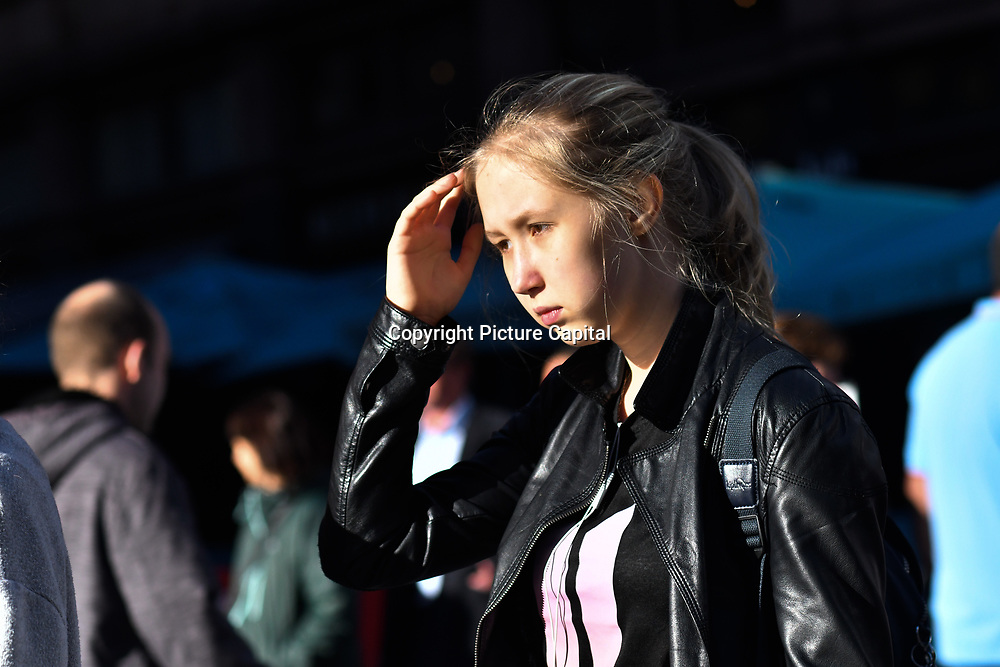 Westend life's street photography people enjoy the westend lifestyle at Leicester Square, London, UK 23 September 2018.