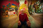 Portrait of Leonard Knight inside his Salvation Mountain in Niland, California