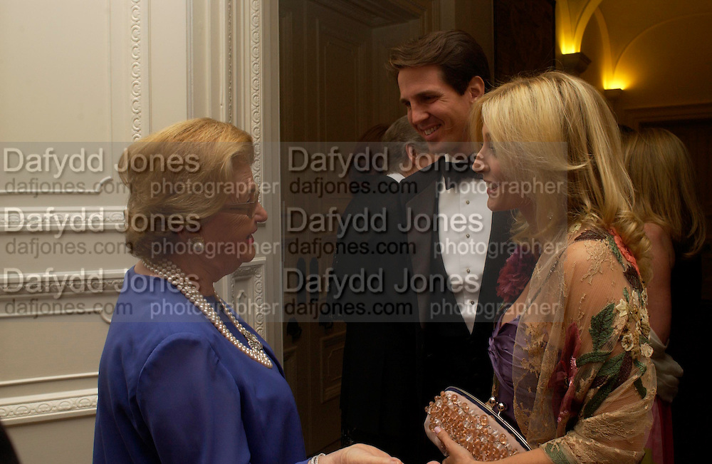 Mrs. Wanda Ferragamo, Prince Pavlos and Princess Marie -Chantal of Greece. An Evening in honour of Salvatore Ferragamo hosted by the Ambassador of Italy. The Italian Embassy, 4 Grosvenor Square. London W1. 8 June 2005. ONE TIME USE ONLY - DO NOT ARCHIVE  © Copyright Photograph by Dafydd Jones 66 Stockwell Park Rd. London SW9 0DA Tel 020 7733 0108 www.dafjones.com