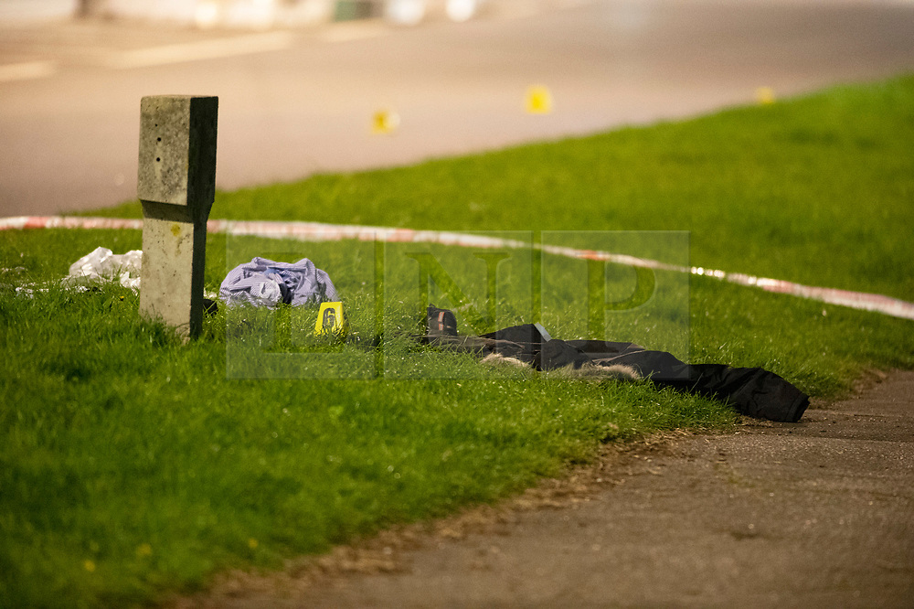 © Licensed to London News Pictures. 13/04/2019.<br /> Orpington, UK.A childs coat on the side of the road, A child is in a critical condition in hospital after being hit by a blue car in Orpington, South East London tonight. Traffic police are on scene with cordons in place on Court Road A224. Photo credit: Grant Falvey/LNP