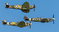 Spitfires and other World War II aircraft take off from Goodwood airfield near Chichester as the country marked the 75th anniversary of the Battle of Britain. <br /> Picture date Tuesday 15th September, 2015.<br /> Picture by Christopher Ison. Contact +447544 044177 chris@christopherison.com