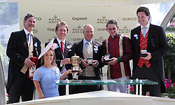 Left to right, Luke Lillingston, Ellie Simmonds, Edward Harper, trainer Clive Cox, jockey Adam Kirby and Sam Hoskins after the Queen Mary Stakes during day two of Royal Ascot at Ascot Racecourse.