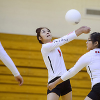 Crownpoint Eagle Daliah Begay (3) bumps back a serve from the Tohatchi Cougars Thursday at Crownpoint High School.