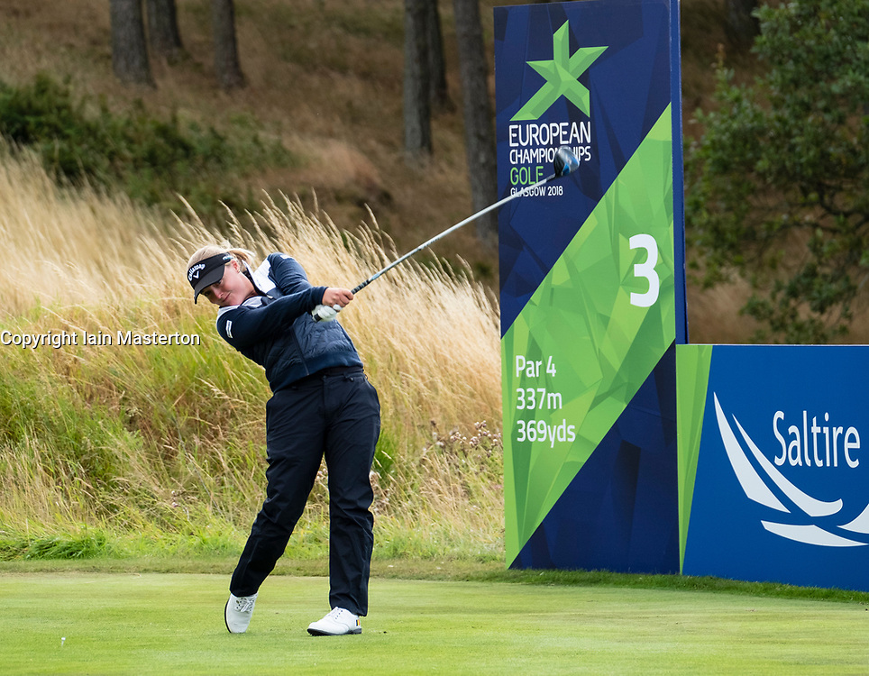Gleneagles, Scotland, UK; 10 August, 2018.  Day three of European Championships 2018 competition at Gleneagles. Men's and Women's Team Championships Round Robin Group Stage. Four Ball Match Play format.  Pictured; Chloe Leurquin of Belgium tees off on the 3rd hole in match against GB