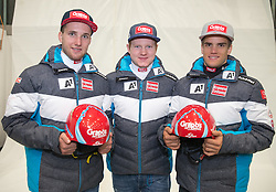 10.10.2015, Olympia Eisstadion, Innsbruck, AUT, OeSV Einkleidung Winterkollektion, im Bild v.l. Marco Schwarz, Markus Dürager, Roland Leitinger // during the Outfitting of the Ski Austria Winter Collection at the Olympia Eisstadion in Innsbruck, Austria on 2015/10/10. EXPA Pictures © 2015, PhotoCredit: EXPA/ Johann Groder