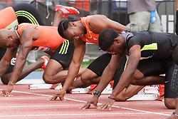 Samsung Diamond League adidas Grand Prix track & field; men's 100 meters, Yohan Blake, JAM, in starting blocks,