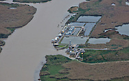 Aerial view of an oil and gas  faciltiy in Plaquemines Parish where land loss due to coastal erosion is estimated to be more than the size of footaball field every hour.