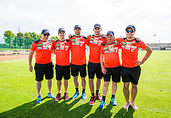 Coaches Fred Zoz, Urban Jarc, physiotherapist, Gorazd Bertoncelj, Nejc Frank, Janez Grilc and Matevz Sparovec during fitness training of Slovenian Ski jumping Men team, on May 8, 2018 in Stadium Kranj, Slovenia. Photo by Vid Ponikvar / Sportida