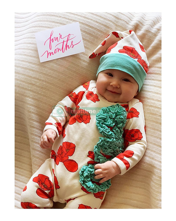 """Kate Hudson releases a photo on Instagram with the following caption: """"Before she turns 5 months... \ud83c\udf39"""". Photo Credit: Instagram *** No USA Distribution *** For Editorial Use Only *** Not to be Published in Books or Photo Books ***  Please note: Fees charged by the agency are for the agency's services only, and do not, nor are they intended to, convey to the user any ownership of Copyright or License in the material. The agency does not claim any ownership including but not limited to Copyright or License in the attached material. By publishing this material you expressly agree to indemnify and to hold the agency and its directors, shareholders and employees harmless from any loss, claims, damages, demands, expenses (including legal fees), or any causes of action or allegation against the agency arising out of or connected in any way with publication of the material."""