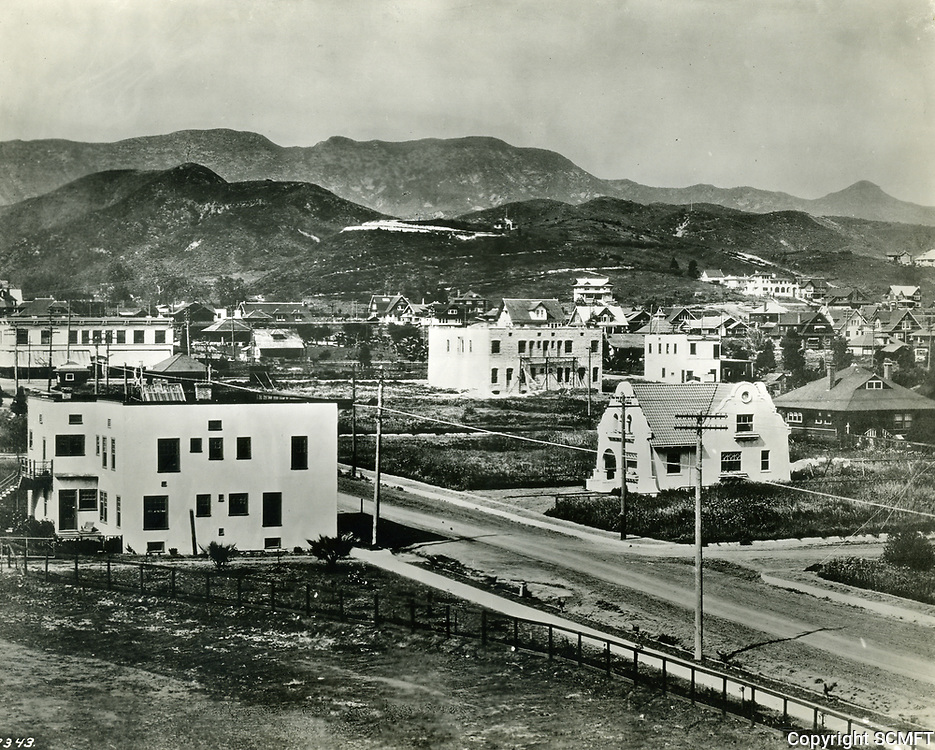4/15/1907 Looking NE from Hollywood High School. At left is the intersection of Hollywood Blvd. & Highland Ave.