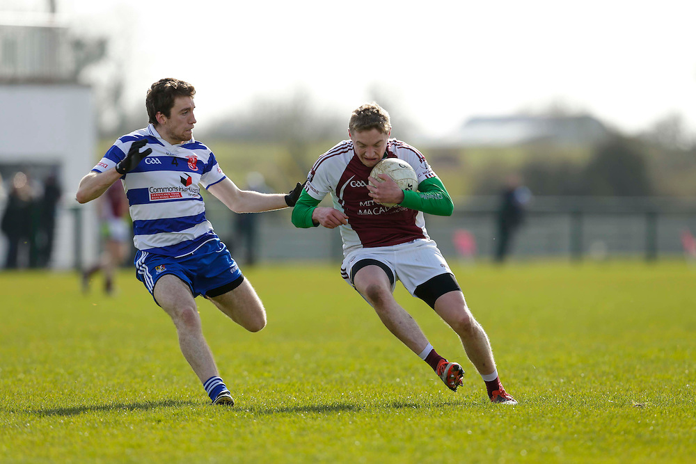 SFC at Trim, April 10th 2016.<br /> Navan O`Mahonys vs Moynalvey<br /> Darragh Maguire (Navan 0`Mahonys) & Shane Lenehan (Moynalvey)<br /> Photo: David Mullen /www.cyberimages.net / 2016