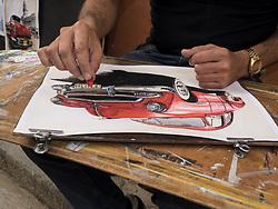 Caribbean, Cuba, Havana, artist painting classic car