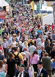 © Licensed to London News Pictures.14/07/15<br /> Harrogate, UK. <br /> <br /> Thousands of people attend the opening day of the Great Yorkshire Show.  <br /> <br /> England's premier agricultural show opened it's gates today for the start of three days of showcasing the best in British farming and the countryside.<br /> <br /> The event, which attracts over 130,000 visitors each year displays the cream of the country's livestock and offers numerous displays and events giving the chance for visitors to see many different countryside activities.<br /> <br /> Photo credit : Ian Forsyth/LNP