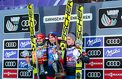 01.01.2018, Olympiaschanze, Garmisch Partenkirchen, GER, FIS Weltcup Ski Sprung, Vierschanzentournee, Garmisch Partenkirchen, Siegerehrung, im Bild Richard Freitag (GER, 2. Platz), Sieger Kamil Stoch (POL), Anders Fannemel (NOR, 3. Platz) // 2nd placed Richard Freitag of Germany Winner Kamil Stoch (POL) 3rd placed Anders Fannemel of Norway during the Winner Award Ceremony of the Four Hills Tournament of FIS Ski Jumping World Cup at the Olympiaschanze in Garmisch Partenkirchen, Germany on 2018/01/01. EXPA Pictures © 2018, PhotoCredit: EXPA/ Stefanie Oberhauser