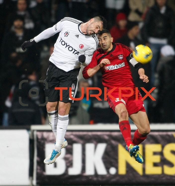 Besiktas's Hugo Almedia (L) during their Turkish superleague soccer match Besiktas between Gaziantepspor at BJK Inonu Stadium in Istanbul Turkey on Tuesday, 05 January 2012. Photo by TURKPIX