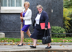 © Licensed to London News Pictures. 29/10/2019. London, UK. Andrea Leadsom, Secretary of State for Business and Therese Coffey Secretary of State for Work and Pensions arrive at 10 Downing Street for a Cabinet meeting …. As Boris Johnson tries to get his snap election poll through Parliament again this week. Photo credit: Alex Lentati/LNP