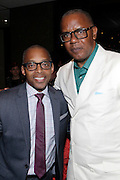 May 10, 2016- New York, NY: United States: (L-R) Dr. Khalil Gibran Muhammad, Director, The Schomburg Center and Photographer/Author Jamel Shabazz attend the Aperture Magazine Launch for the Vision & Justice Issue held at the Ford Foundation on May 10, 2016 in New York City.  Aperture, a not-for-profit foundation, connects the photo community and its audiences with the most inspiring work, the sharpest ideas, and with each other—in print, in person, and online. (Terrence Jennings/terrencejennngs.com)