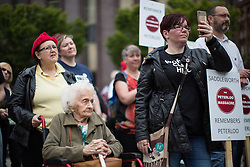 © Licensed to London News Pictures . 14/08/2016 . Manchester , UK . A memorial on the site of The Peterloo Massacre ( formerly St Peter's Field , now the Manchester Central Convention Centre ) , attended by Maxine Peake and Paul Mason . On 16th August 1819 , a rally calling for Parliamentary reform , improved workers rights and against poverty was brutally suppressed by sabre-wielding cavalrymen , resulting in the deaths of fifteen people and many hundreds injured . Photo credit : Joel Goodman/LNP