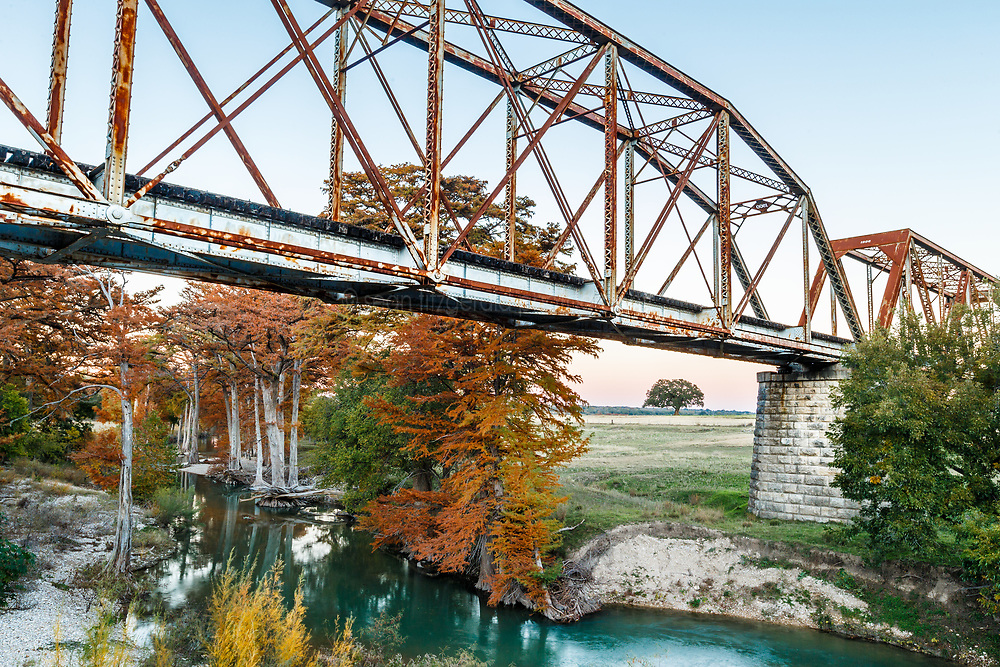 Abandoned railroad bridge over Guadalupe River in Fall (part of former F&N Railroad Line), Comfort, Texas USA