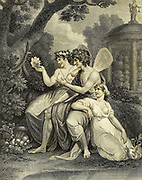Description of the Frontispiece Illustrating Botany. The Goddess Flora, And Her Husband Zephyrus, Adorned With Their Appropriate Emblems, Are Employed In Examining With Great Care And Attention The Stamina And Pistillum [Pistil] Of The Night-Blowing Ceruse; The Beauties And Properties Of Which They Are Explaining To Their  Daughter, Carpo, Who, Seated At Their Side, Is Listening To Them With Extreme Pleasure And Profound Silence. Various Flowers and Fruits Lie Scattered Around Them; And In The Background Is A Temple Or Conservatory Sacred To Zephyrus, Copperplate engraving From the Encyclopaedia Londinensis or, Universal dictionary of arts, sciences, and literature; Volume III;  Edited by Wilkes, John. Published in London in 1810
