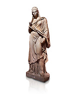 Roman statue of Plancia Magna a prominent woman from Anatolia who lived between the 1st century and 2nd century in the Roman Empire. Marble . Perge. 2nd century AD. Inv no 3459 . Antalya Archaeology Museum; Turkey. Against a white background. .<br /> <br /> If you prefer to buy from our ALAMY STOCK LIBRARY page at https://www.alamy.com/portfolio/paul-williams-funkystock/greco-roman-sculptures.html . Type -    Antalya     - into LOWER SEARCH WITHIN GALLERY box - Refine search by adding a subject, place, background colour, museum etc.<br /> <br /> Visit our ROMAN WORLD PHOTO COLLECTIONS for more photos to download or buy as wall art prints https://funkystock.photoshelter.com/gallery-collection/The-Romans-Art-Artefacts-Antiquities-Historic-Sites-Pictures-Images/C0000r2uLJJo9_s0